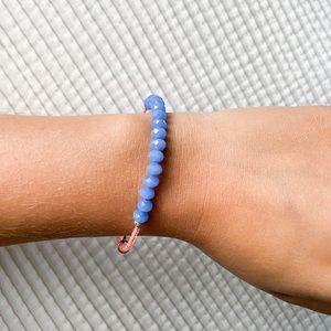 Lovely B Blue Crystal Beaded Bangle Bracelet